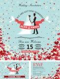 Bröllopinbjudanuppsättning Bruden brudgummen, fallande hjärtor, blommar Arkivbild