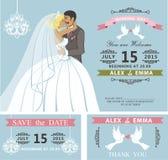 Bröllopinbjudanuppsättning Kyssande tecknad filmbrud och brudgum retro Arkivfoton