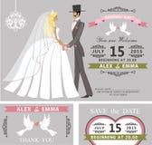 Bröllopinbjudanuppsättning Retro tecknad filmbrud och brudgum Arkivbilder