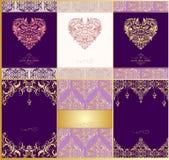 Bröllopinbjudningar med modellen och hjärta för tappning den blom- formar stock illustrationer