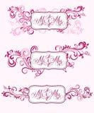 Bröllopkalligrafi i blom- prydnader Royaltyfria Bilder