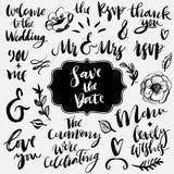 Bröllopkalligrafi och bokstäver Et-tecken och slagordar stock illustrationer