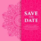 Bröllopkort eller inbjudan Dekorativa beståndsdelar för tappning med mandalaen Royaltyfri Fotografi