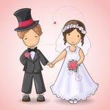 Bröllopkort med brudgum och bruden Arkivbild