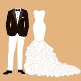 Bröllopkort med kläderna Arkivbilder
