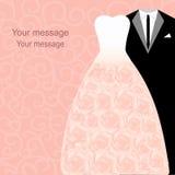Bröllopkort med klänningar Fotografering för Bildbyråer