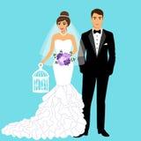 Bröllopkort med nygifta personerna Royaltyfria Foton