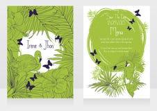 Bröllopkort med tropiska fåglar, fjärilar och palmblad Arkivfoto