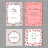 Bröllopkortuppsättning med blomman Grå färg-, rosa färg- och svartfärg vektor illustrationer