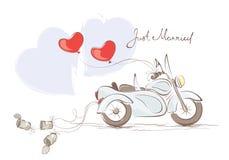 Bröllopmotorcykel med sidecaren royaltyfri illustrationer
