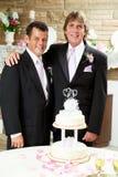 Bröllopmottagande - två brudgummar Royaltyfri Bild