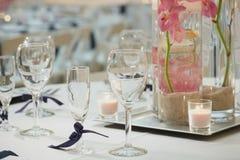 Bröllopmottagandet bordlägger Arkivfoto