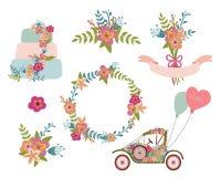 Bröllopsamling, krans, blommor, retro bil, bröllopstårta Arkivfoton