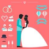 Bröllopsamling med bruden, brudgumkonturn och romantiker december Arkivbild