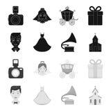 Bröllopsklänning brudgum, grammofon, kyrka E royaltyfri illustrationer
