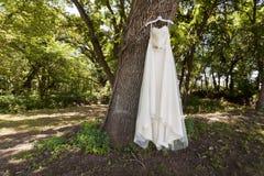 Bröllopsklänning i en skog Royaltyfri Foto