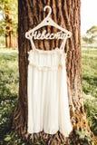 Bröllopsklänning i skogen arkivfoto