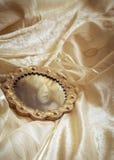 Bröllopsklänning & spegel Arkivbild