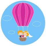 Bröllopsresa i en ballong för varm luft Arkivbild