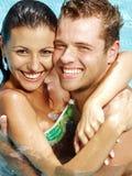 bröllopsresaswimmingpool Fotografering för Bildbyråer