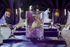 Bröllopställeinställning Arkivfoto