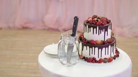 Bröllopstårta, innan cutted stock video