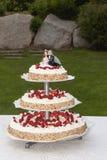 Bröllopstårta med jordgubbar Royaltyfria Foton