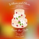 Bröllopstårta med kräm- rosor över färgrik suddig vektorbakgrund Royaltyfria Bilder