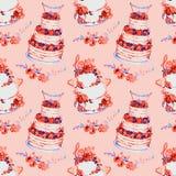 Bröllopstårta med rosa rosor och blommasammansättningar med förälskelseord och med bär och `-mr & mrs ` överst på rosa färger stock illustrationer