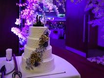 Bröllopstårta utanför en rensa korridor på natten med purpurfärgade ljus arkivbilder