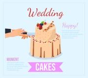 Bröllopstårtabegrepp Plan illustration för vektor royaltyfri illustrationer