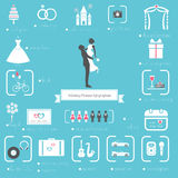 Bröllopstadsplanerare Icons och Infographics uppsättning Arkivfoton