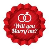 Bröllopstjärna. Ska du att gifta sig mig klistermärken. Royaltyfria Bilder