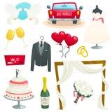 Bröllopsymboler ställde in, samlingen av designbeståndsdelar, tecknad filmvektorillustration royaltyfria bilder