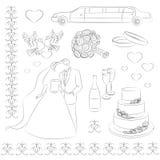 Bröllopsymbolsuppsättning stock illustrationer