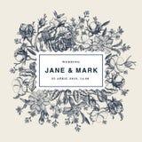 Brölloptack och för blommarosor för inbjudan victorian illustration för härlig realistisk för primulor för kort för ram gravyr fö vektor illustrationer