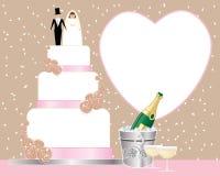 Bröllopte med kaka- och champagnehinken vektor illustrationer