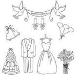 Brölloptemamodell Gullig och detaljerad uppsättning Bröllopsklänning bukett, kaka Royaltyfri Illustrationer