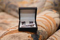 Brölloptillbehör för brudgum Arkivfoto