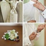 Brölloptillbehöruppsättning för brudgum Arkivfoton