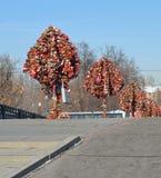 Gifta sig trees med padlocks Arkivbilder