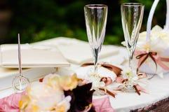 bröllopwineglasses Royaltyfria Bilder
