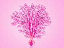 Bröstcancerband på träd royaltyfri illustrationer