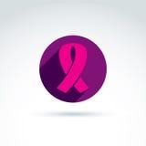 Bröstcancerband som förläggas på en purpurfärgad cirkel, healthcar vektor vektor illustrationer