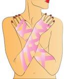 bröstcancerflicka stock illustrationer
