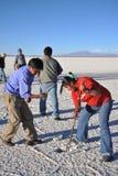 Bröt Bolivians saltar kristaller Arkivbilder