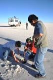 Bröt Bolivians saltar kristaller Royaltyfri Foto