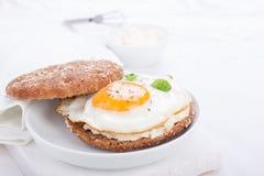Brötchen mit Ei, Hüttenkäse und frischem Basilikum Stockfotografie