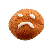 Brötchen mit traurigem Gesicht Stockfoto