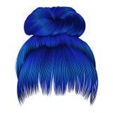 Brötchenhaare mit dunkelblauen Farben der Franse Frauenmodeschönheit s stock abbildung